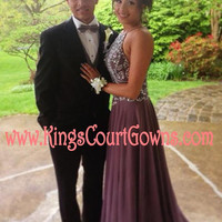 Replica Beaded Charcoal Grey Backless Chiffon Prom Evening Pageant Dress Gown
