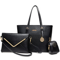 Shoulder Bags Handbags Women Famous Brands Faux Leather Women Messenger Bags Ladies Handbag+Messenger Bag+Purse 3 Sets