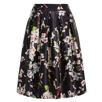 New Fshion Lady Women's Retro Style Floral Pattern Pleated Skirt Casual Party Swing Skirt