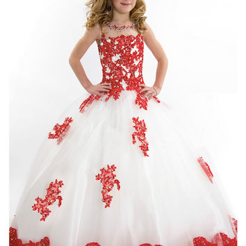 Girls Pageant Dress 2016 New Arival White and Red Floor Length Tulle Ball Gown Flower Girls Wedding Party Dress AL0006