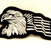 Eagle and flag	White on black Small Badge Patch for Biker Vest SB756