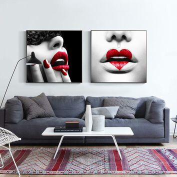 Modern Sexy Red Lip Special Lip Makeup Canvas Painting Black And White Wall Art Pictures For Living Room Home Decor Posters HD