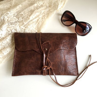 Distressed Leather Clutch Bag,Brown Leather Purse,Genuine Leather Bag,Boho Clutch,Brown leather Bag,Distressed Leather Bag,Envelope Clutch