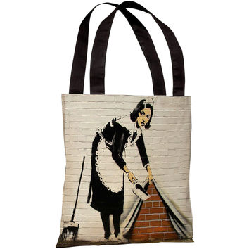 """Under The Rug Graffiti"" 18""x18"" Tote Bag by Banksy"