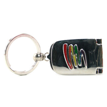 Rainbow Squiggle Picture Frame Keychain