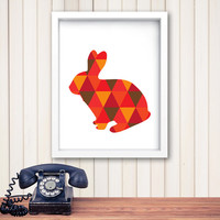 Rabbit Print Art, red orange Wall Prints, Geometric Rabbit, Wall Prints, Printable Art, Print Rabbit Art, red orange Wall Art *166*