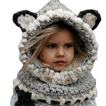Cute Children Unisex Knitted Hat Fox 3D Ears Button Hooded Scarf Shawl Winter Warm Animal Cap Headwear Knit Bonnet Accessories
