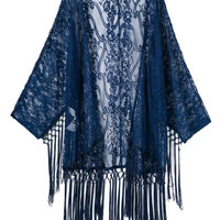 Sexy Sheer Lace Fringe Tassel Hem Loose Kimono Style Women Cardigan Cape Blouse Top