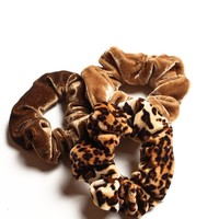 Velvet Scrunchie Set - Brown