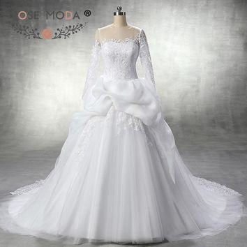 Rose Moda Lace Long Sleeves Wedding Dress High Neck Wedding Ball Gown with Illusion Back 50cm Train