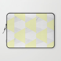 Yellow White Marble Triangles Laptop Sleeve by ARTbyJWP