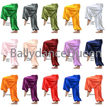 Handmade Harem Pants, Satin Harem Pants, Gypsy Pants, Aladdin, Baggy, Genie, Boho, Hippie,Yoga Pants HAREM Pants Belly Dance Costume