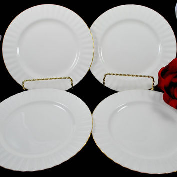 4 Charger Plates Royal Albert Val D'Or Pure White and Gold England Fine Porcelain