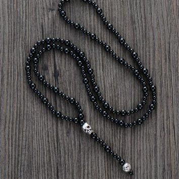 Men Necklace Quality Black Onyx with Skull Mens Rosary Necklace Beads Punk Couple Necklace Mens jewelry Dropshipping