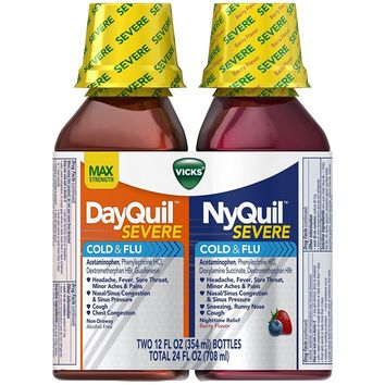 Vicks DayQuil/NyQuil Severe Cough Cold and Flu Relief Liquid, Combo Pack 2x12 Fl Oz
