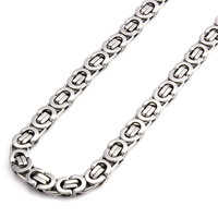 Men's Stainless Steel 8mm Silver Flat Byzantine Chain Necklace