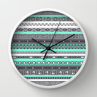 Tiffany Turquoise Aztec Print Wall Clock by RexLambo