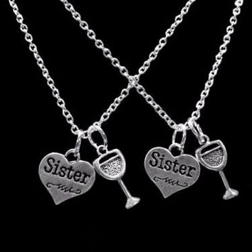 Sister Heart Wine Glass Gift For Sisters Necklace Set
