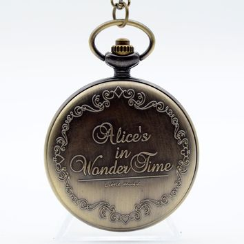 Alice in Wonderland The Write Rabbit and Key Roman Numerals and Poker Dial Quartz Pocket Watch Analog Pendant Necklace Men Women