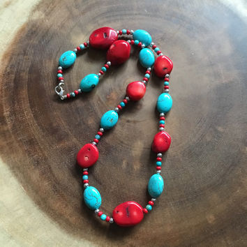 Red and Turquoise Beaded Necklace, Chunky Necklace, 21 and a Half Inch Necklace, Womens Necklace, Gift for Her