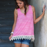 Crochet Trim Basic Tank {Strawberry}