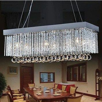 Modern Rectangular  Dining Room Crystal  LED Crystal Chandelier Lamp Lighting