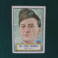 1952 Topps Look 'n See #36 General Claire Lee Chennault Non-Sports Card, Famous Military Leaders Collectible Card
