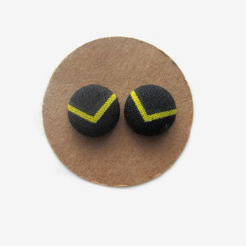 Retro Black with Yellow Chevron Stripe Earrings // Fabric Earrings // Retro // Vintage // 80s // Yellow // Chevron // Teen Girl // For Her