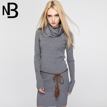Fall Fashion Knit Long Sleeve Slim One Piece Dress [6446691524]