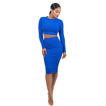 Ribbed Crop Tee With Skirt BLUE