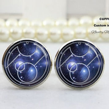 DIY Logo  Cufflinks , Galaxy  , Best Gifts For Father, with Free Gift Box,Silver cufflinks,Wedding gift for bride groom