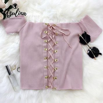 AZULINA 2017 summer lace up crop top women sexy off shoulder pink white knitted short tops beachwear bustier tank top camisole