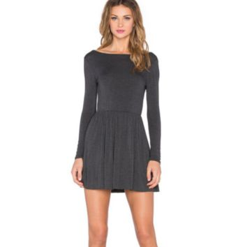 Stretchy Flare Mini Dress, Gray