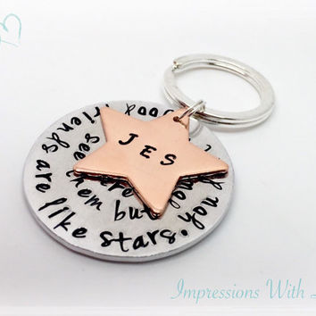Best Friends - Friends are like stars - Hand stamped Keyring - Keychain - copper - Friend Gift