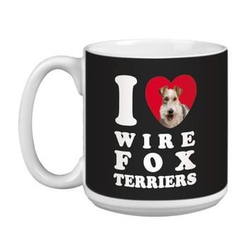 Tree Free Greetings XM29142 I Heart Wire Fox Terriers Artful Jumbo Mug, 20-Ounce