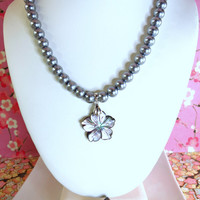 Gray Pearl Abalone Shell Flower Necklace