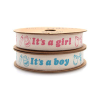 Its A Boy Girl Baby Shower Cotton Ribbon, 5/8-inch, 10-yard