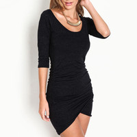 Women's Over Slim Summer Half Sleeve Ruched Wrap Front Pure Black Dress