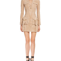 Balmain Lace-Front Suede Cargo-Pocket Dress, Tan
