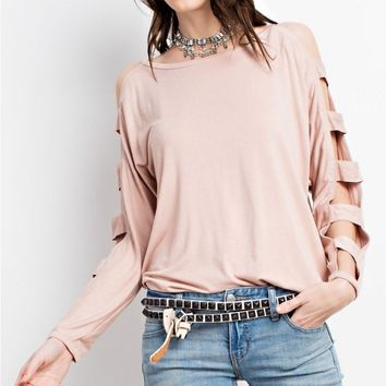 Ladder Sleeved Casual Top