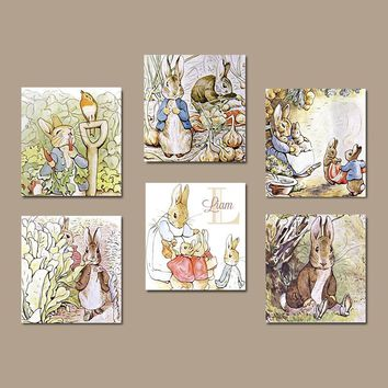 PETER RABBIT Wall Art, CANVAS or Prints Peter Rabbit Nursery, Child Boy Girl Storybook Modern Set of 6 Gallery Baby Decor Wall Decor