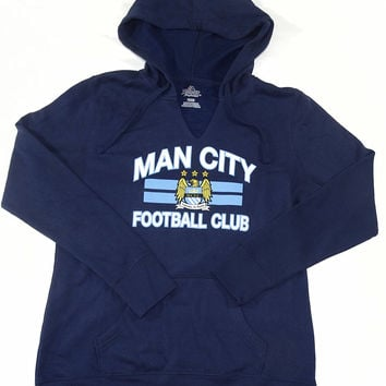 Manchester City FC Majestic Pullover V Neck Hooded Sweatshirt Womens Size M