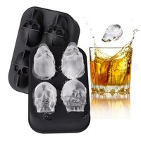 3D Skull Silicone Ice Cube Mold Tray Spooky Fun Bar Tool