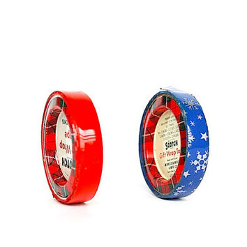 Christmas Scotch Tape - Vintage Christmas Decor - Plaid Tartan Scotch Tape Dispensers - Red Tape - Blue Silver Snowflakes - Christmas Decor