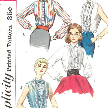 """1950s Junior Misses Blouse Office Fashion, Ruffles, Vintage Sewing Pattern, Simplicity 1837 bust 31 1/2"""""""