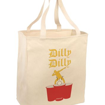 Dilly Dilly Funny Beer Large Grocery Tote Bag-Natural by TooLoud