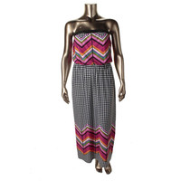 Love Squared Womens Plus Matte Jersey Pattern Maxi Dress