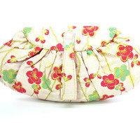 Japanese Plum Blossom Clutch Purse.  Ume Pale Rose Pink Silk Brocade, Green & Pinkish Red Flowers. Yamamoto NOS. Vintage 1940s Evening Bag