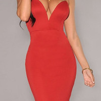 Red Deep V Neck Strapless Bodycon Midi Dress