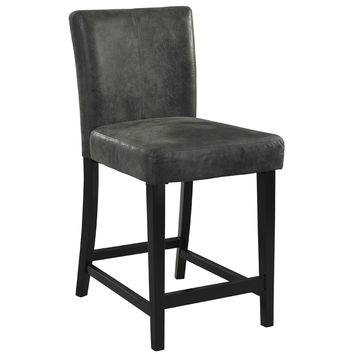 24 Inch Monaco Counter Height Stool w/ Black Frame & Soft Charcoal Leatherette Seat